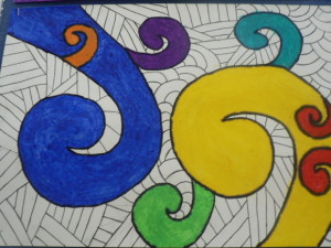Jessica Woollam created her koru design ysung bright colours wuth a black and white background.