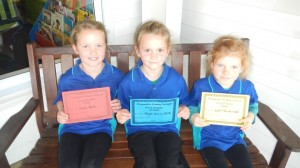 6 Year Old Girls Charli (1st), Haydn (2nd), Leah (3rd)